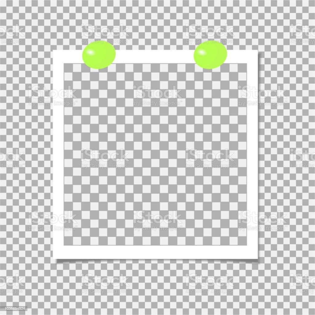 緑色のピン付きフォト フレームテンプレートですベクトル図 からっぽの