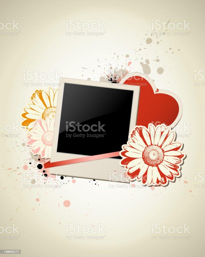 Photo frame with heart and flower royalty-free stock vector art