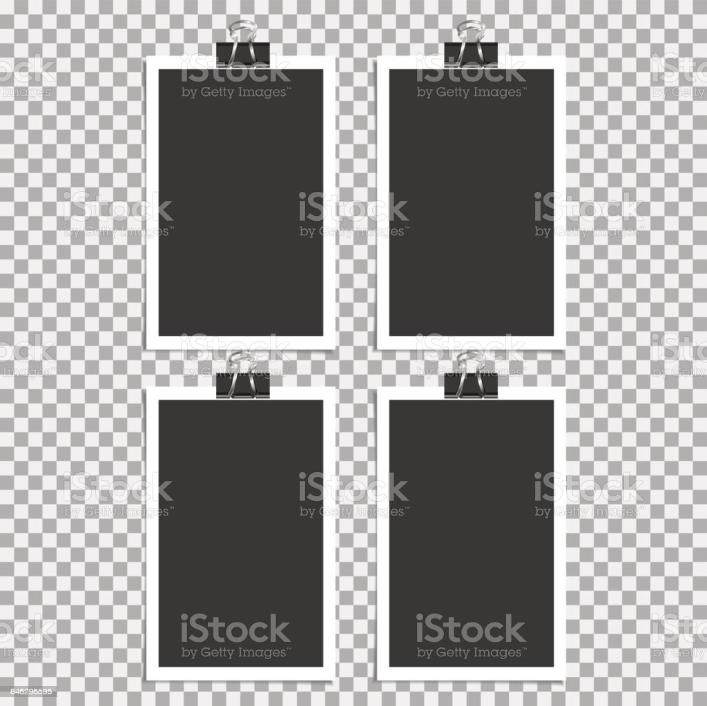 Photo frame with pin, clip and with sticky tape on grey background. Vector illustration vector art illustration