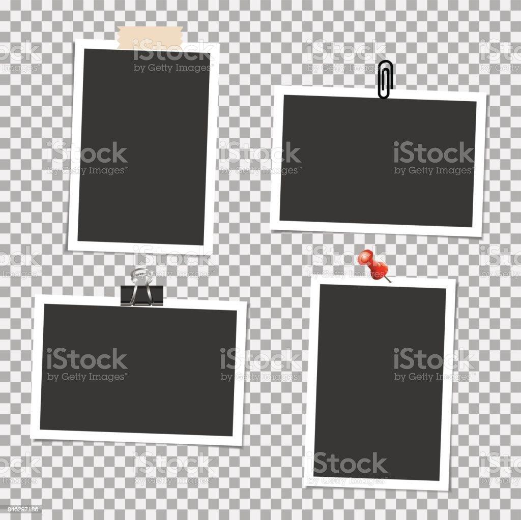 Ilustración de Foto Marco Con Perno Clip Y Cinta Adhesiva En Fondo ...
