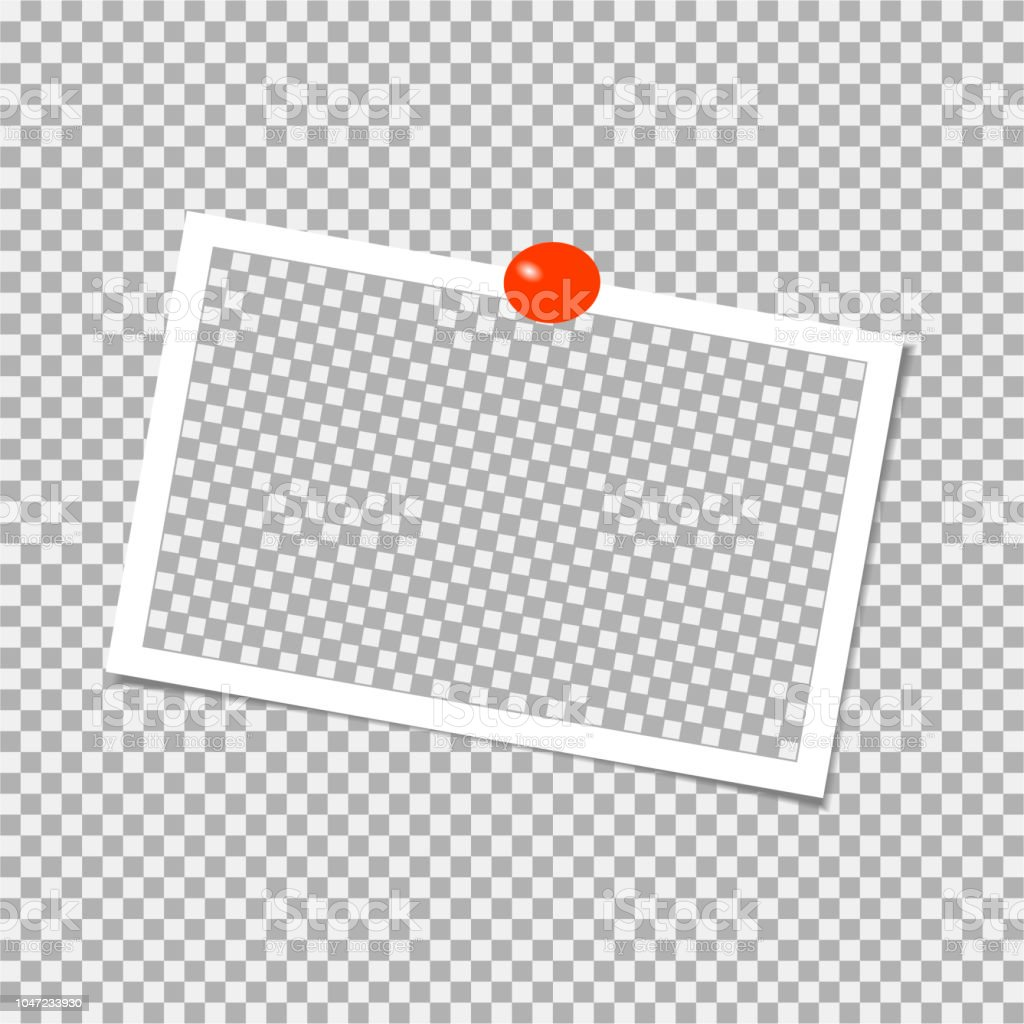 赤いピン付きフォト フレームテンプレートですベクトル図 からっぽの