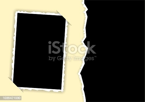 Photo frame with torn edges and hidden angles template for a collage. Vector illustration.