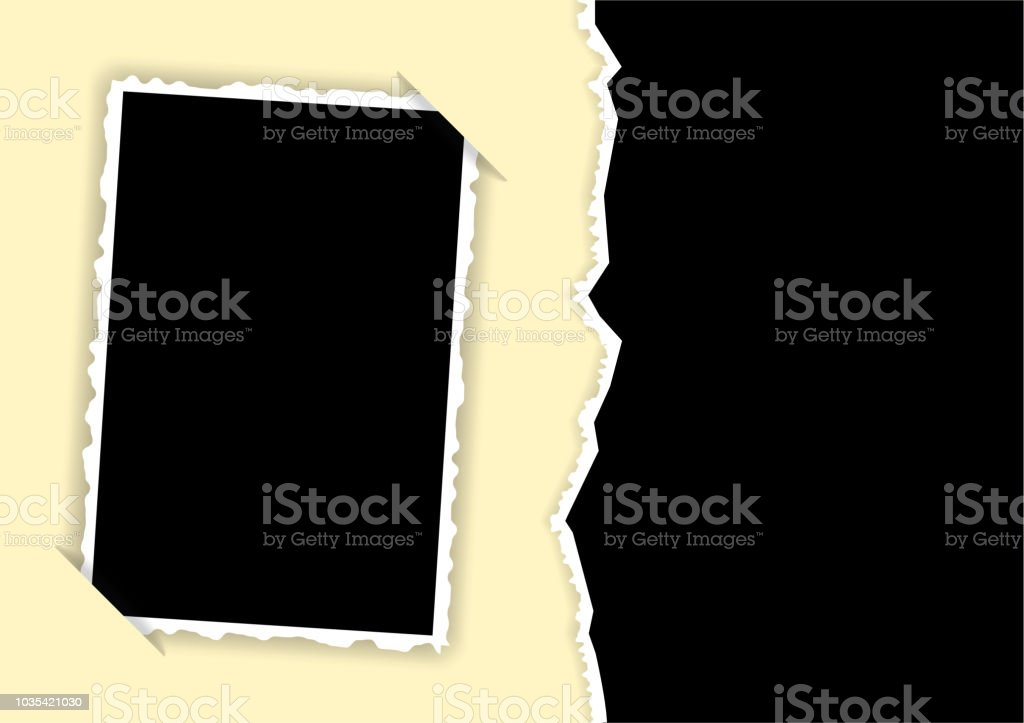 Photo frame with torn edges and hidden angles template for a collage vector art illustration
