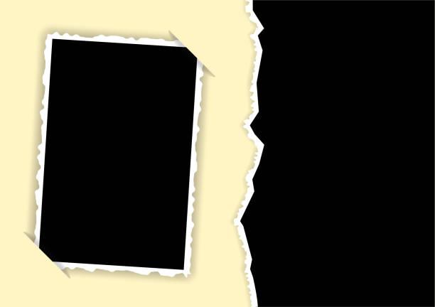 拼貼的帶撕裂邊緣和隱藏角度範本的相框 - 鄉愁 幅插畫檔、美工圖案、卡通及圖標