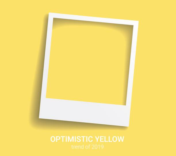 Photo frame with trendy color 2019. Optimistic yellow vector background. Polaroid style imitation Photo frame with trendy color 2019. Optimistic yellow vector background. Polaroid style imitation auto post production filter stock illustrations