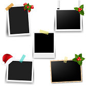 Photo Frame With Xmas Decor Collection With Gradient Mesh, Vector Illustration