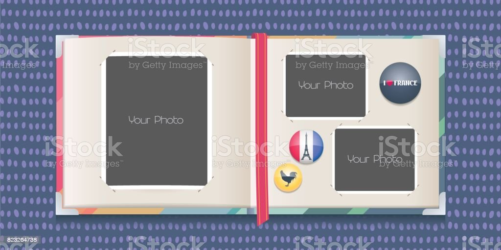 Photo frames collage or scrapbook with borders vector illustration vector art illustration