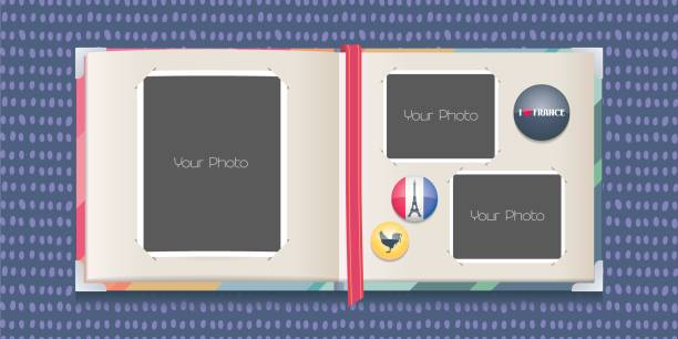 Photo frames collage or scrapbook with borders vector illustration Photo frames collage or scrapbook with borders vector illustration. Template design for travel to France photo album photo album stock illustrations