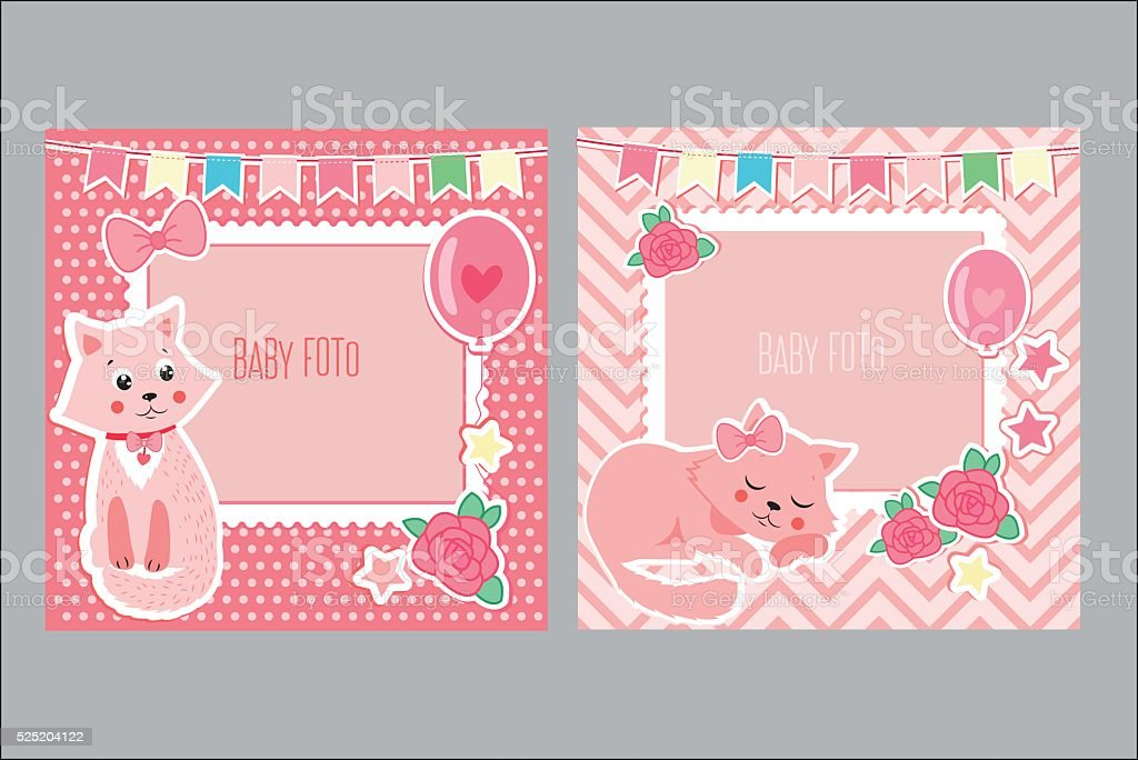 Photo Frames For Kids Decorative Template For Baby Girl Stock Vector
