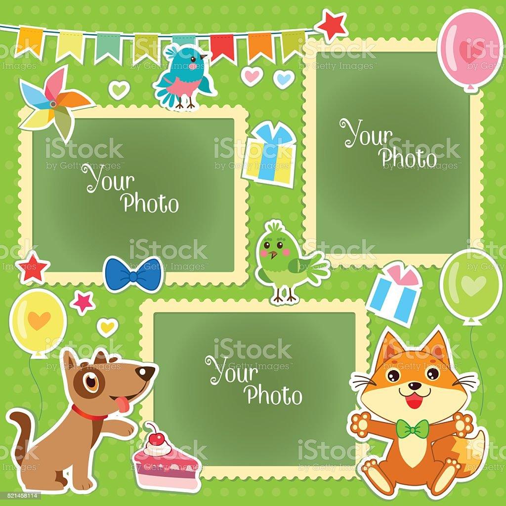 Ilustración de Foto Marcos Para Los Niños Decorativo Plantilla Para ...