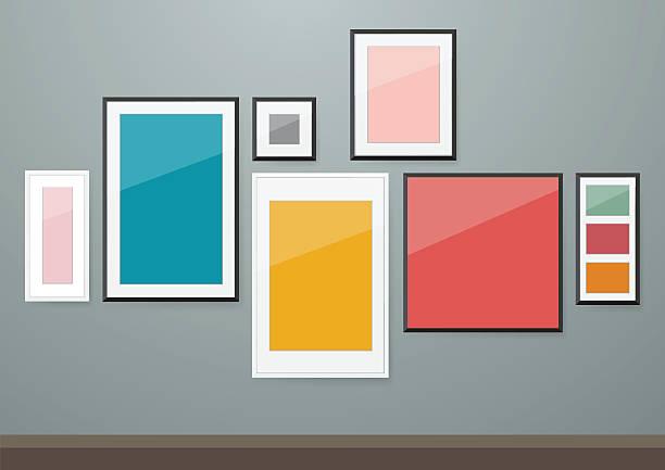 Photo frames on wall vector art illustration