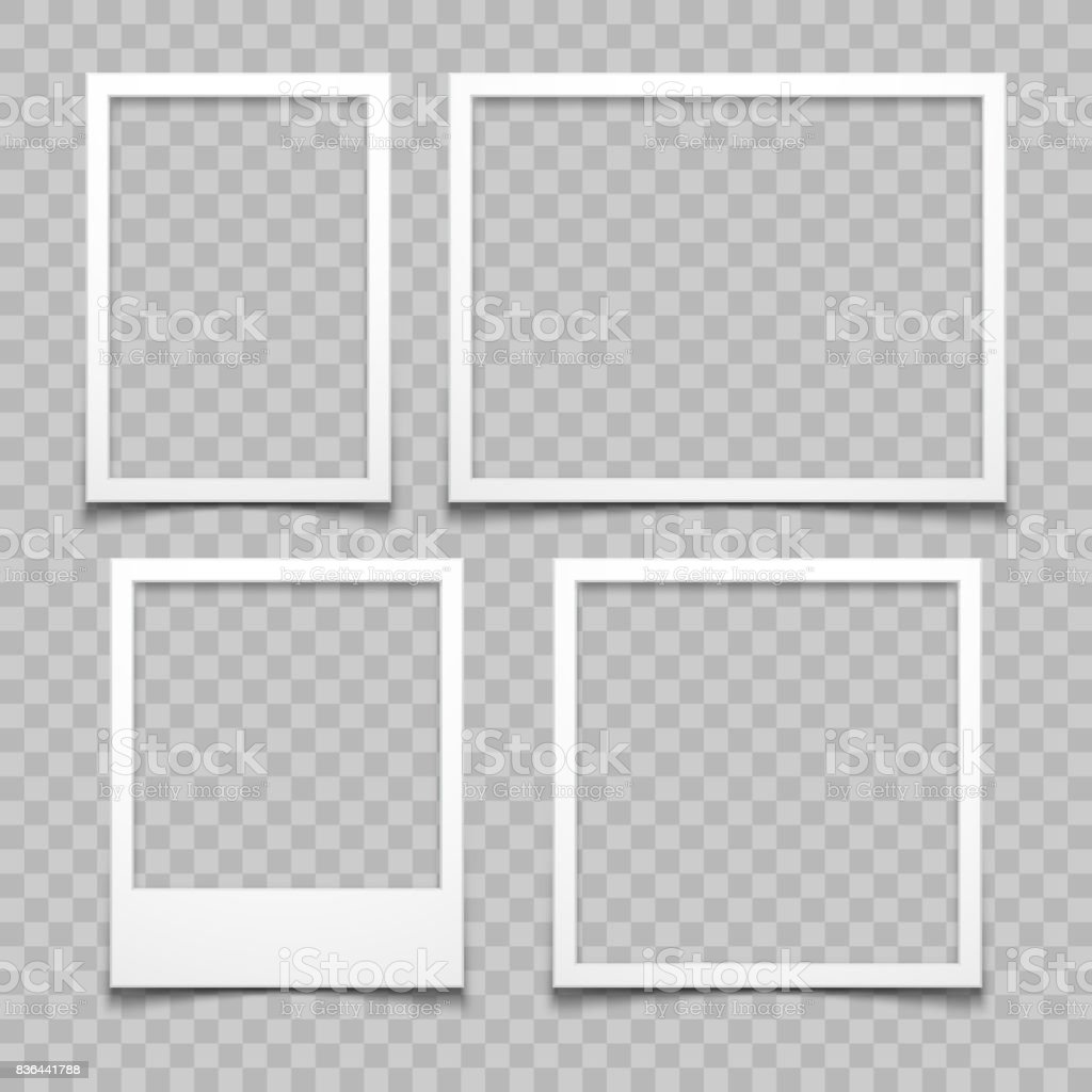 Photo frames with realistic drop shadow vector effect isolated. Image borders with 3d shadows vector art illustration