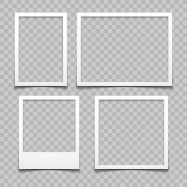 Photo frames with realistic drop shadow vector effect isolated. Image borders with 3d shadows Photo frames with realistic drop shadow vector effect isolated. Image borders with 3d shadows. Empty photo frame template gallery illustration scrapbook stock illustrations