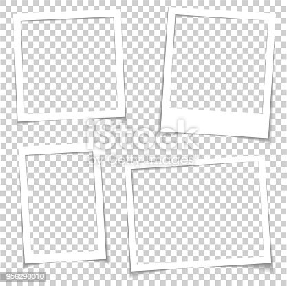 Photo frames with realistic drop shadow vector effect isolated. Image borders with 3d shadows. Empty photo frame template gallery illustration