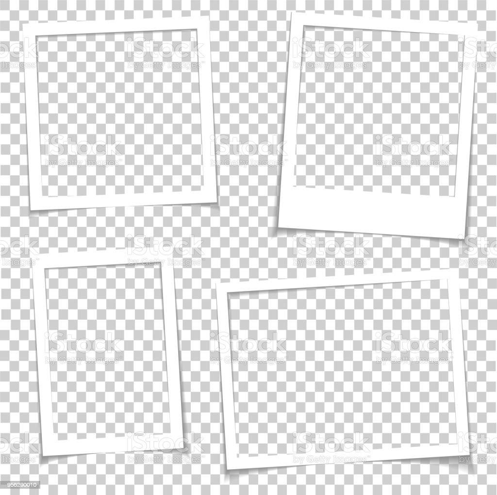 Marcos de fotos con sombra realista vector efecto aislado. Fronteras de la imagen con sombras 3d. Ilustración de galería vacía foto marco plantilla - ilustración de arte vectorial