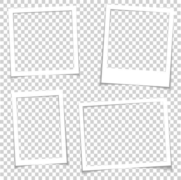 ilustraciones, imágenes clip art, dibujos animados e iconos de stock de marcos de fotos con sombra realista vector efecto aislado. fronteras de la imagen con sombras 3d. ilustración de galería vacía foto marco plantilla - bordes de marcos de fotografías