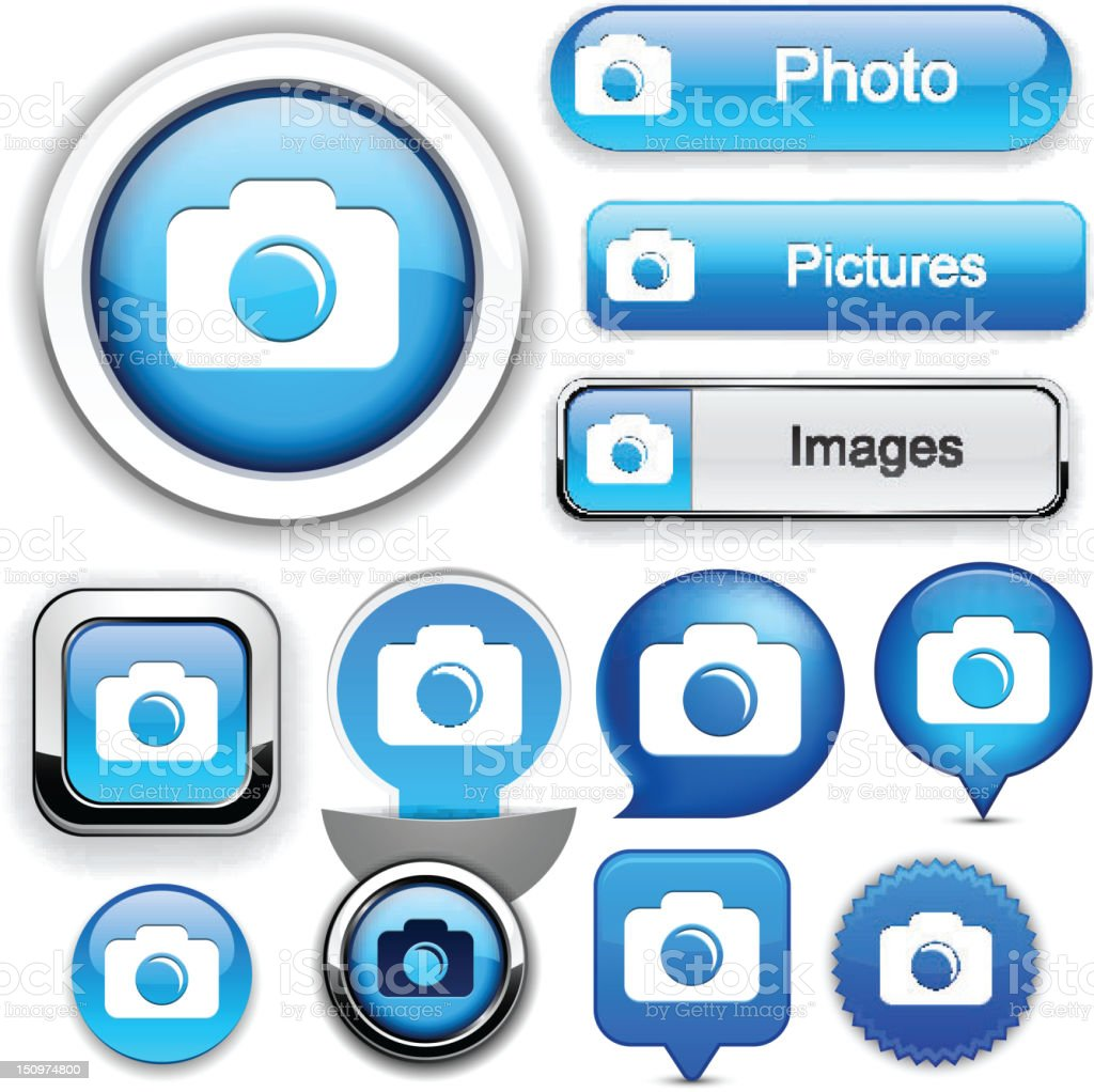 Photo high-detailed web button collection. royalty-free stock vector art