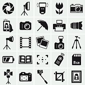 Photo icons. Set of 25 black symbols for a photographic theme. Vector collection of silhouette elements.