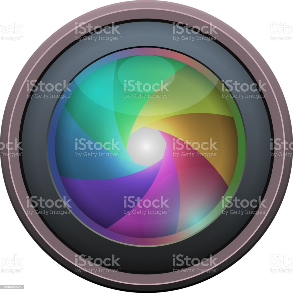 Photo Lens isolated on white background. Vector vector art illustration