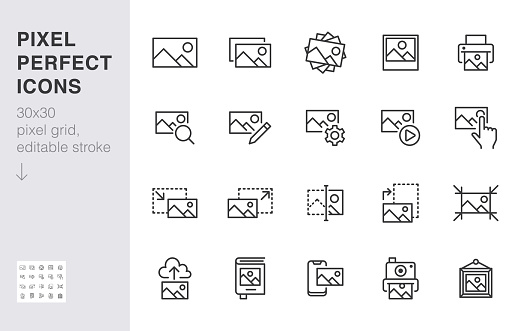 Photo line icon set. Image gallery, picture frame, printer, file resize, camera minimal vector illustrations. Simple outline signs for photos editor application. 30x30 Pixel Perfect. Editable Strokes