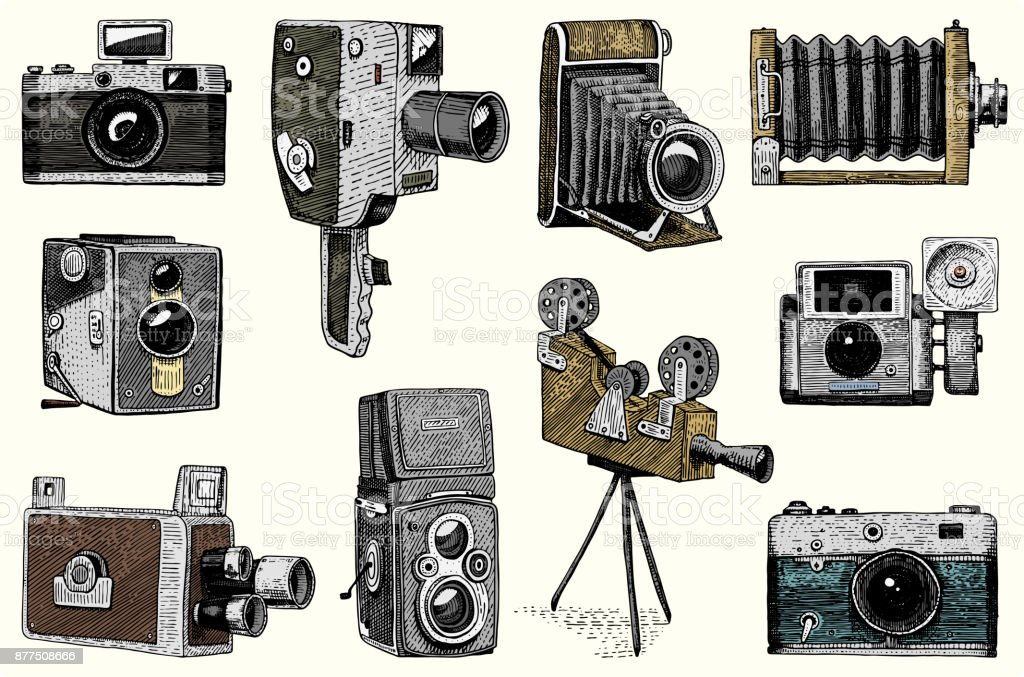 Camera Vintage Vector Free : Photo logo emblem or label video film movie camera from first till