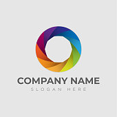 Photo logo template. Colorful diaphragm icon of shutter. Vector illustration with caption