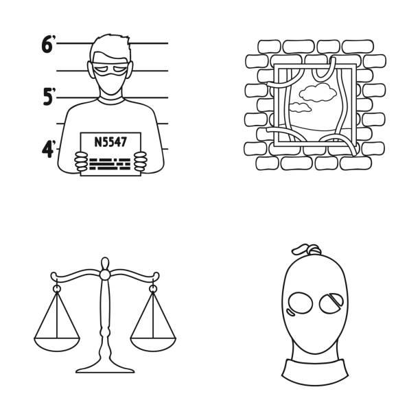 foto eines verbrechers, flucht aus dem gefängnis, waage der gerechtigkeit, ein dieb in einer maske. kriminalität stellen sammlung icons im umriss stil vektor symbol lager abbildung web. - gartendekorationen stock-grafiken, -clipart, -cartoons und -symbole