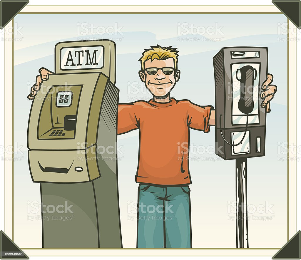 Photo of Man with ATM and Payhone royalty-free stock vector art