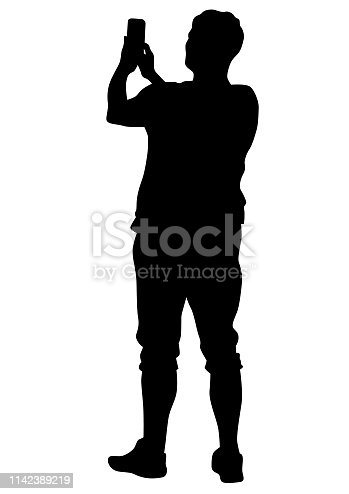 Women and man with photo camera on white background