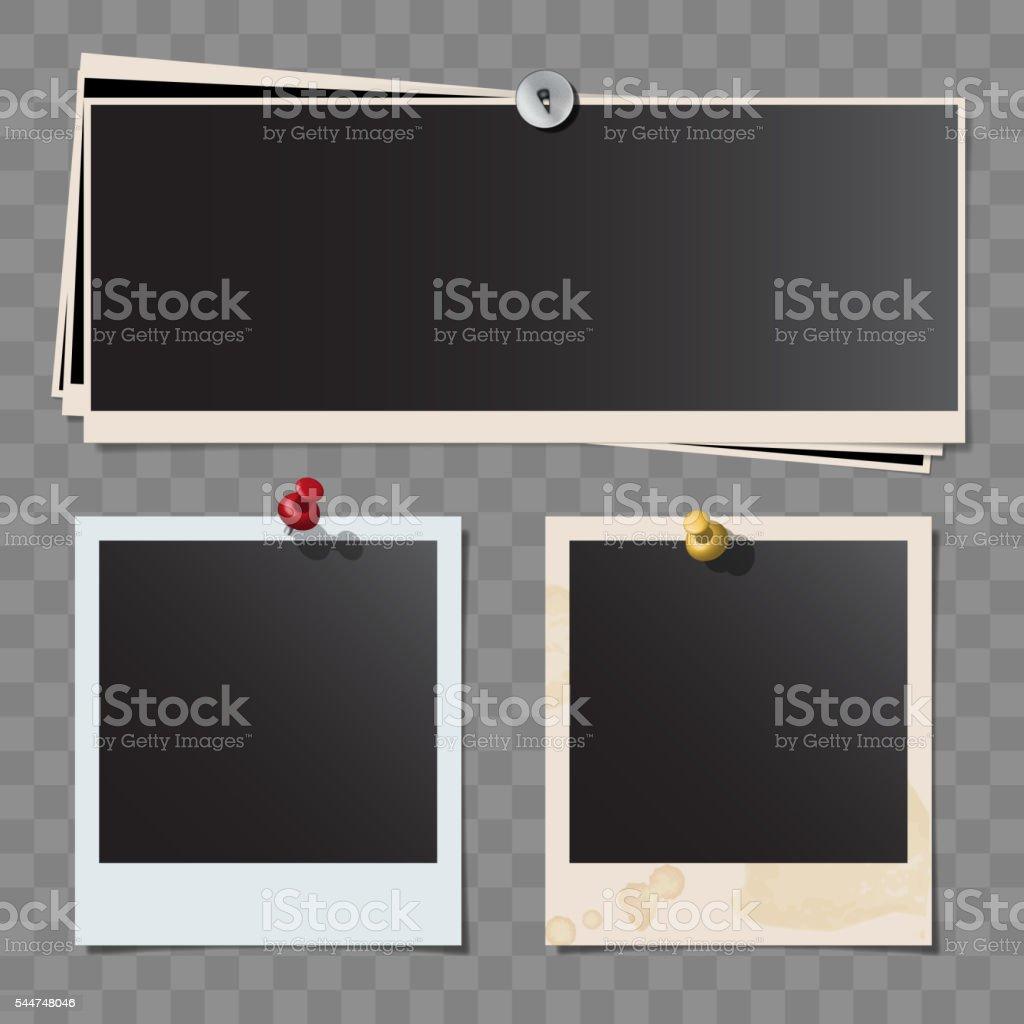 Photo polaroid frames on wall vector art illustration