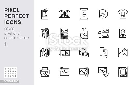 Photo printing line icon set. Brand identity printed on products like brochure, banner, mug, plotter vector illustrations. Simple outline signs for polygraphy. 30x30 Pixel Perfect. Editable Strokes.