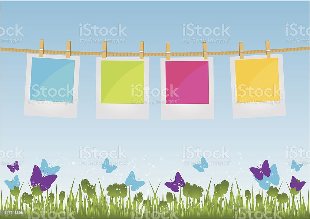 Photo Prints Hanging on a Rope vector art illustration