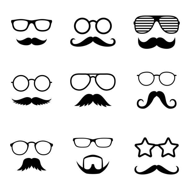 ilustrações, clipart, desenhos animados e ícones de adereços de foto. enfrenta cara a cara com óculos e bigode. cavalheiro. detetive. vector - bigode