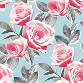 Modern photo real roses in a seamless pattern.  Hi res jpeg included.  Scroll down to see more of my illustrations.