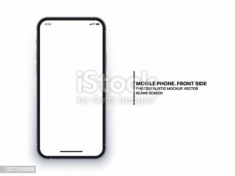 istock Photo Realistic Mobile Phone Vector Mockup With Blank Screen Isolated On White Background 1307045506