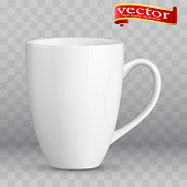 Photo realistic white cup isolated on the transparent background. Design Template for Mock Up. Vector illustration. Template ceramic clean white mug with a matte effect, without the bright glare.