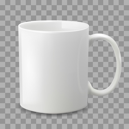 Photo realistic white cup isolated on the transparent background.
