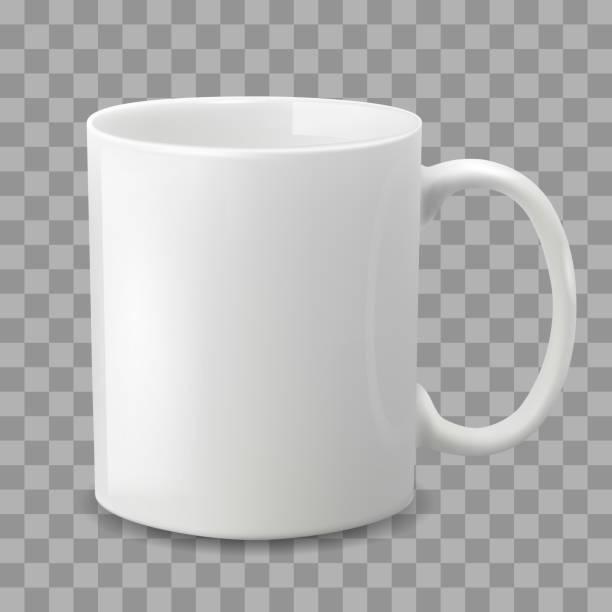 bildbanksillustrationer, clip art samt tecknat material och ikoner med foto realistisk vit kopp isolerat på den genomskinliga bakgrunden. - cup