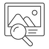 Photo search thin line icon. Picture and lens vector illustration isolated on white. Magnifier and image outline style design, designed for web and app. Eps 10