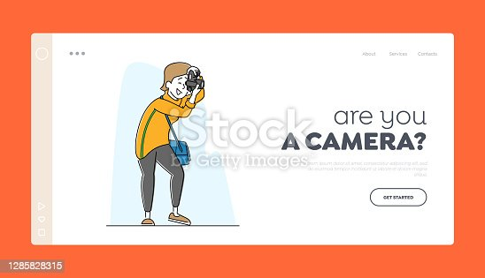 istock Photo Session Shooting Landing Page Template. Female Photographer Character with Photo Camera Make Picture, Paparazzi 1285828315