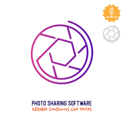 Photo Sharing Software Continuous Line Editable Stroke Icon