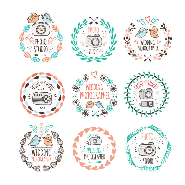 photo studio and wedding photographer logo design in doodle style - wedding photographer stock illustrations