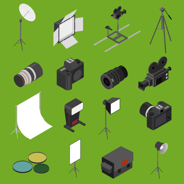 foto studio equipment icon set isometrischen ansicht. vektor - fotostudios stock-grafiken, -clipart, -cartoons und -symbole