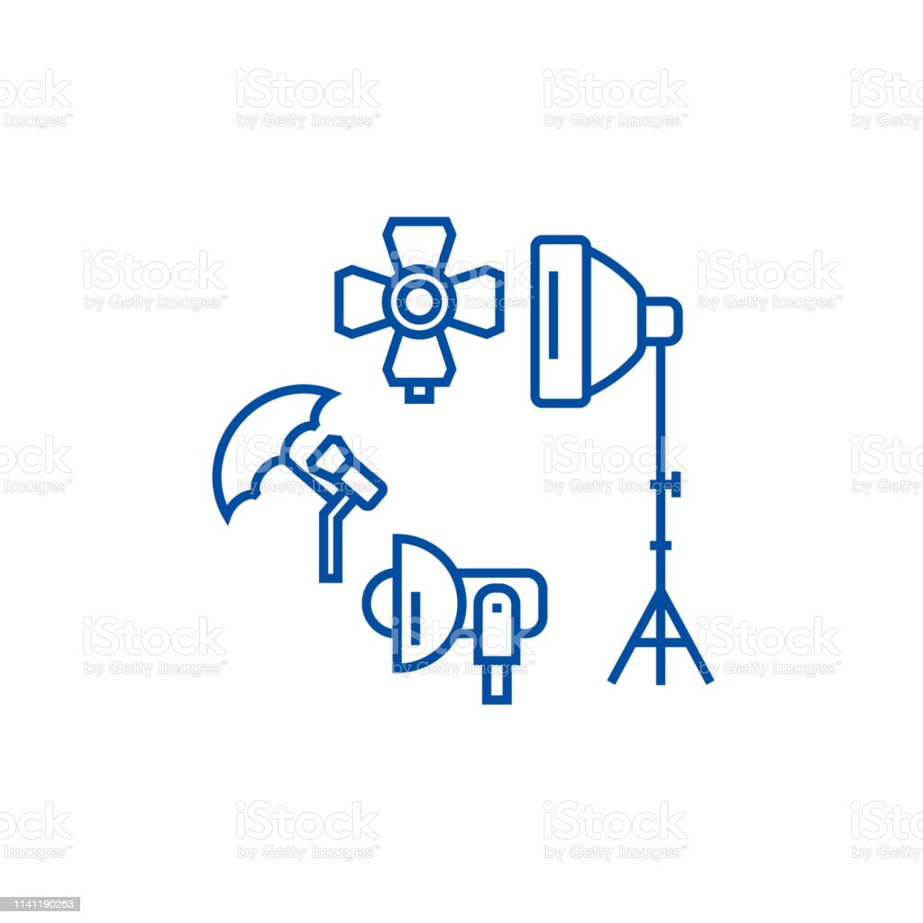 Photo studio, lighting equipment line concept icon. Photo studio,...