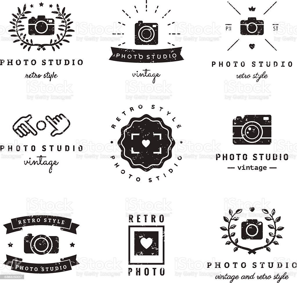 Photo studio logo vintage vector set. Hipster and retro style. vector art illustration