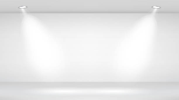 ilustrações de stock, clip art, desenhos animados e ícones de photo studio room. empty white interior. vector template illustration. vector illustration - white wall