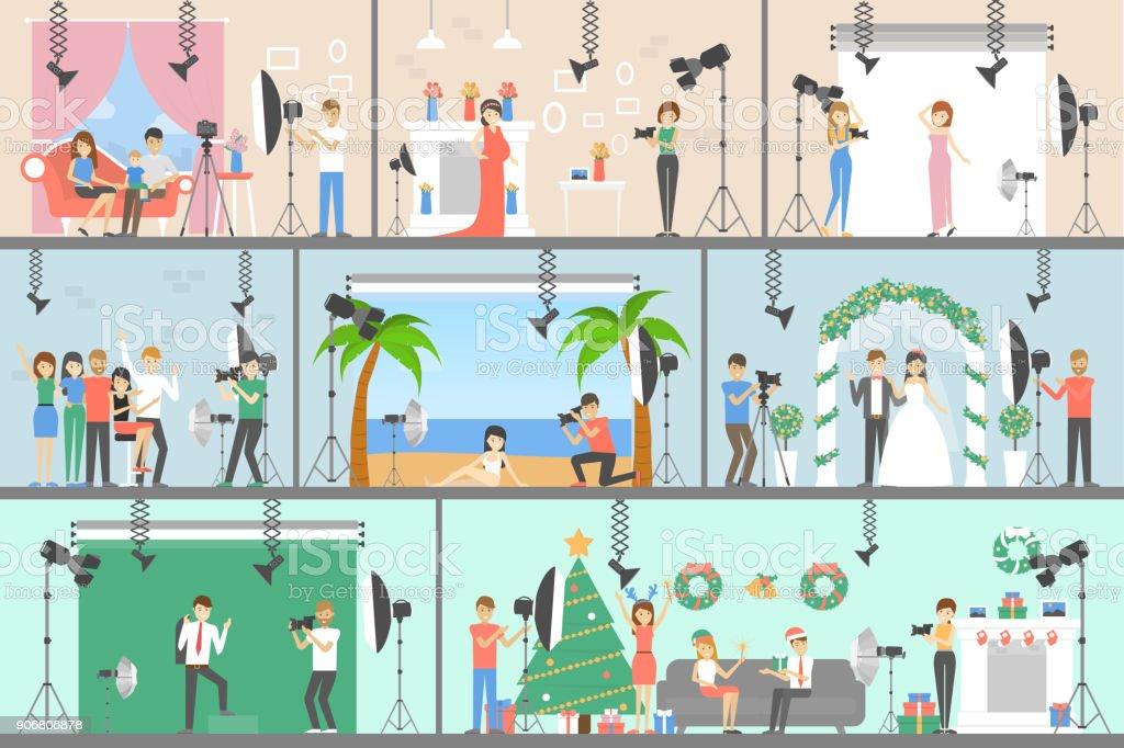 Photo studio set of illustrations. векторная иллюстрация