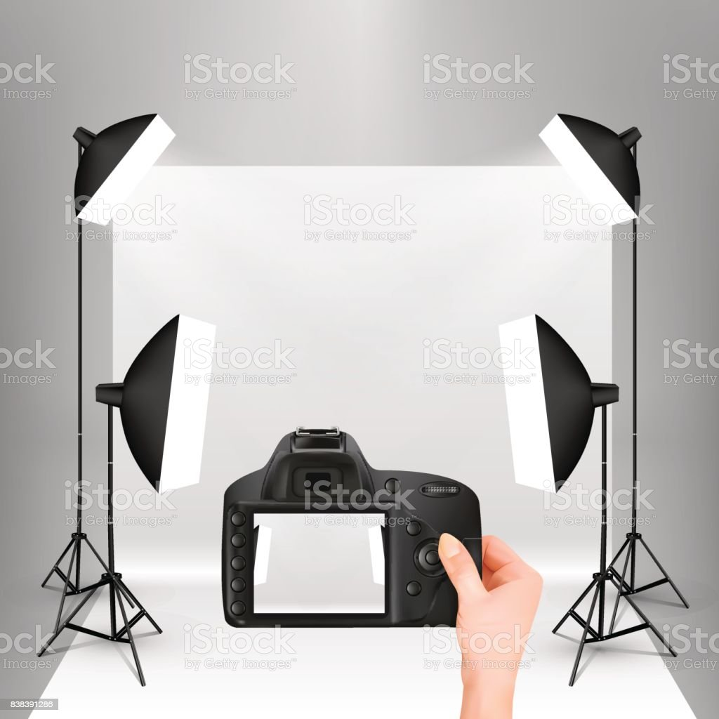 photo studio vector with camera vector art illustration