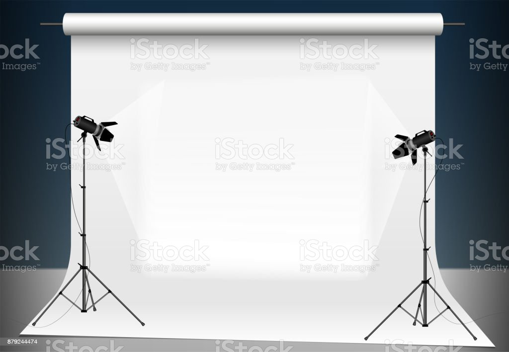 Photo studio with a light and blank background. Lighting with two studio flashlights. Supports for photographic equipment. vector art illustration