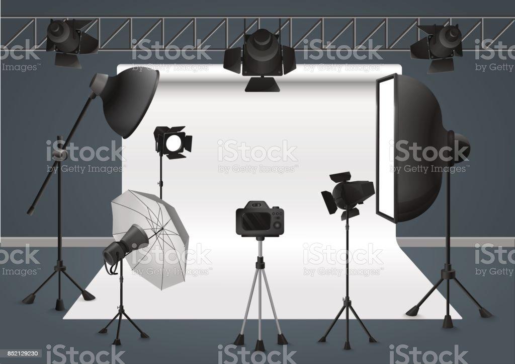 Photo studio with camera, lighting equipment flash spotlight, softbox and background. Vector illustration. vector art illustration